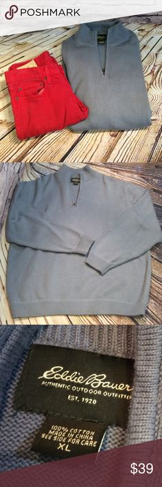 SZ XL MEN'S EDDIE BAUER 1/4 ZIP GRAY SWEATER Lightly used gray sweater with a 1/4 zip and mock neck. 100% cotton. C-3 Eddie Bauer Sweaters Zip Up