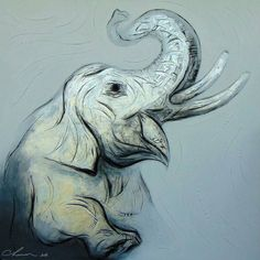 """Gorgeous great painting. .!!  .Credit :  @reservoartgallery -  Chaiwan would like to present """"the powerful energetic smart and lovely Chang Thai (Thai Elephant)"""" to people all around the world -------------------------------- . #elephant #elephants #elephantlove"""