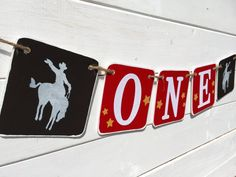 ONE Birthday Banner Baby Boy Birthday Western by RedBirdBanners