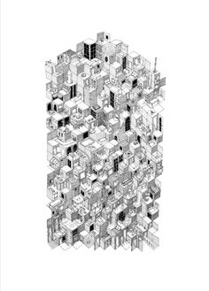 """Mathias Meldgaard, """"We All Live Here"""", pen and pencil on paper. 50x70cm."""