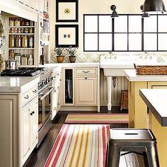 kitchens - striped runner, striped kitchen runner, yellow kitchen island, , Country Industrial Pendant, Tolix Stool,  Greg Scheidmann  bright,