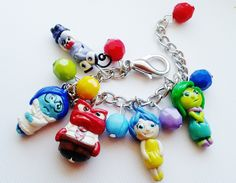 Inside out inspired  charm bracelet (fear, sadness, anger, joy and disgust) by crystalnruby on Etsy