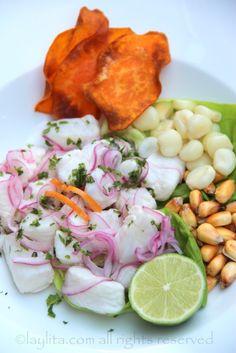 Peruvian fish cebiche or ceviche - Laylita's Recipes Peruvian Dishes, Peruvian Cuisine, Peruvian Recipes, Seafood Recipes, Fish Recipes, Cooking Recipes, Healthy Recipes, Water Recipes, Grilling Recipes