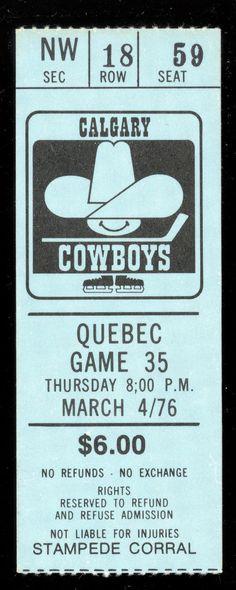1976 MARCH 4 ticket stub WHA HOCKEY CALGARY COWBOYS corral VS QUEBEC NORDIQUES   eBay