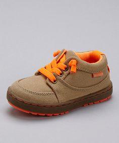 Look at this #zulilyfind! Khaki & Orange Thomas Sneaker by OshKosh B'gosh #zulilyfinds