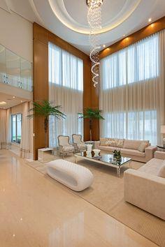 Vivenda Indaiatuba: sala de estar moderna de designer de interiores e paisagista . Home Stairs Design, Home Room Design, Dream Home Design, Home Interior Design, Living Room Designs, Bungalow Haus Design, Duplex House Design, Modern House Design, Mansion Interior