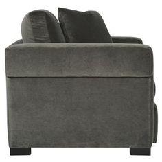 Evan Modern Classic Mocha Wood Dark Grey Armchair.