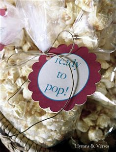 """Baby Shower """"Ready to Pop"""" kettle corn favors"""