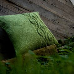 Leaves of grass green. Knit pillowcase by TheCreativeGene.