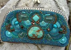 Maya Bead Embroidered Bag by zaziebeads on Etsy