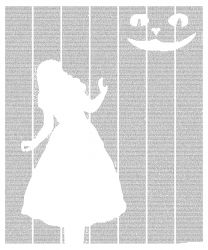 A poster made up of text from Alice's Adventures in Wonderland by Lewis Carroll in the image of Alice and the Cheshire Cat.