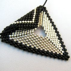 Elegant Silver and Black Peyote Triangle Choker (2296) - A Sand Fibers Made-to-Order Creation