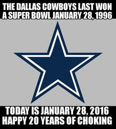 20 years for the Dallas Cowboys Nfl Jokes, Football Jokes, Cowboys Football, Funny Sports Memes, Sports Humor, Denver Broncos Memes, Dallas Cowboys Pictures, Redskins Fans, Bronco Sports