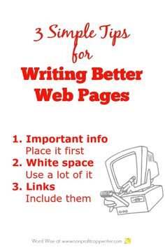 3 simple tips for writing better web pages with Word Wise at Nonprofit Copywriter Creative Writing Tips, Easy Writing, Writing Websites, Writing Resources, Freelance Writing Jobs, Best Web, Copywriting, Blog Tips, Words