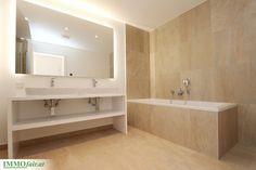 Großzügiges Badezimmer in Erdtönen - Projekt Hofstattgasse Wien Alcove, Bathtub, Bathroom, Room Interior Design, Full Bath, Bathing, Projects, Standing Bath, Washroom