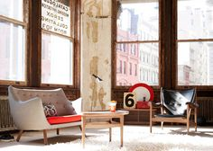 Mid-century furniture in a city loft