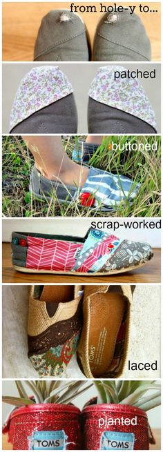 Creative ways to patch Toms - Don't throw away your favorite pair of shoes, reinvent them! Here are some cute ways to repair your Toms
