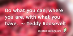 Do what you can, where you are, with what you have.    ~ Teddy Roosevelt