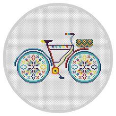 Colorful Bicycle Cross Stitch Pattern PDF Hoop art door Xrestyk