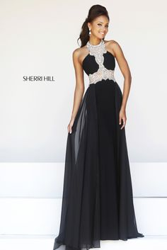 Stunning long black halter prom dress 2014 from Sherri Hill