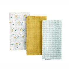 3 Wickelauflagen aus Baumwolle 70 x 70 cm GASTON