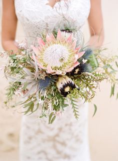 protea wedding bouquet - photo by Feather and Stone http://ruffledblog.com/best-of-2014-bouquets #weddingbouquet #flowers