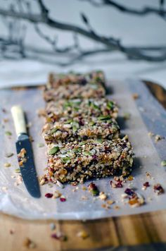 Quinoa, fruit & nut bars (He Needs Food) Would also make a great recipe for the parrots!