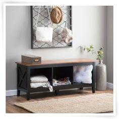The Hampton Indoor Storage Bench - Black/Oak