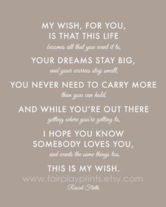 "LOVE THIS! My Wish For You Nursery Print Song Inspirational Quote Baby Gift Wedding Gift - 8""x10"" Print on Etsy, $15.00"