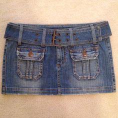 Papaya denim Skirt With Removal Belt - $10  #TFCLOSETCONTEST