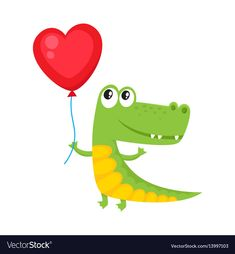 Cute and funny crocodile holding red heart shaped vector image on VectorStock Alligator Crafts, School Frame, Alligators, Heart Balloons, Birthday Greetings, Diy Painting, Vocabulary, Heart Shapes, Taehyung
