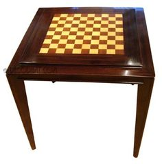 Square French Art Deco Game Table With Reversible Checker / Chess/felt  Poker Board Top
