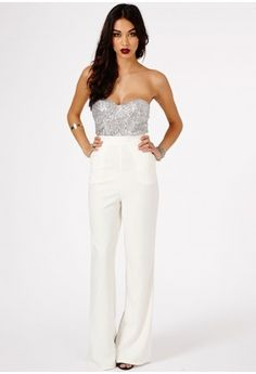 Sora Sequin Bustier Jumpsuit, Cream £39.99 by missguided
