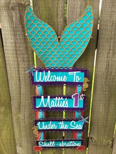 Mermaid Welcome Sign- Under the Sea Welcome Sign- Welcome Door Sign- Mermaid Birthday Party Mermaid Birthday Decorations, Mermaid Theme Birthday, Little Mermaid Birthday, Little Mermaid Parties, First Birthday Parties, Birthday Party Themes, Birthday Ideas, 5th Birthday, Welcome Door Signs