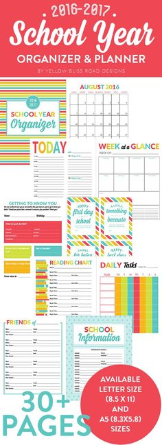 2016-2017 School Year Organizer and Planner. Keep your family organized with tons of printable pages from calendars ande schedules to teacher letters to contact info.