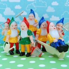 "For - Sarah BradyGarden Gnome Toppers Top your cupcake with these sweet kitschy gnomes!   2-1/4""(5.5cm) tall  Package of 7 - $3.00  #woodland #gnome #dwarfs"