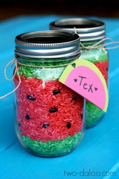 Watermelon sensory rice in a jar- part of a watermelon-themed activity post at Twodaloo Watermelon Activities, Watermelon Crafts, Watermelon And Lemon, Sensory Activities, Sensory Play, Toddler Activities, Sensory Therapy, Bible Crafts For Kids, Crafts To Make