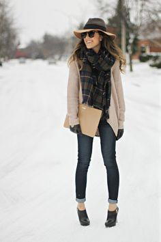 floppy hat, sweater, oversized scarf