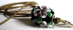 Purple Clematis Handmade Lampwork Glass Bead for by TLBeads, $25.00