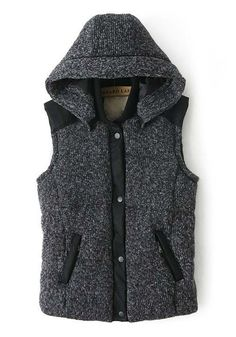 Grey Patchwork Band Collar Hooded Cotton Blend Vest