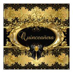Elegant Gold & Black Damask Lace Quinceanera Personalized Announcement