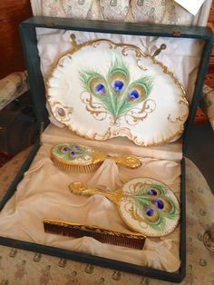 Art Nouveau Vanity Set Tray, Brush, Comb, Mirror Original Box Peacock Design