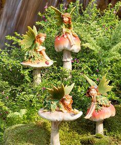 Mushroom Fairy Four-Piece Figurine Set #zulily #zulilyfinds