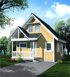 This economical cottage design is ideally suited for a compact or narrow building site.  The versatile two storey great room features a window wall enhancing all the available rear views.  The second level sleeping loft could easily be partitioned if additional privacy is warranted.  The covered front entry is protected from the elements and adds to the curb appeal.