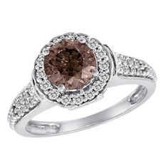 mom I've tagged a product on Zales: 1 CT. T.W. Enhanced Fancy Cognac Frame Engagement Ring in 14K White Gold