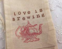 Rosa amor de bolsas de té está gestando tetera Favor bolsas de muselina 4 x 6 o 5 x 7