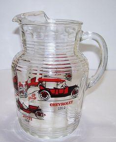Vintage Hazel Atlas Glass Pitcher Ice Lip Antique Cars
