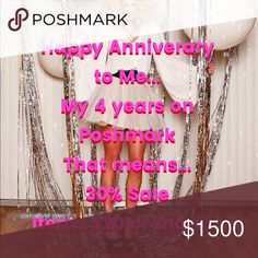Anniversary Sale!!! I am having a sale this weekend for my anniversary. It is 30% off . The items have to be $20 or more. It can be a single item or multiples. Leave a message or bundle or put it in your favorites and I will change the price for you. Thank you Poshmark 30% Dresses