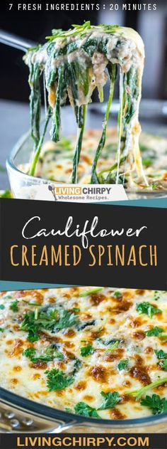 An easy and healthy recipe for Cauliflower Creamed Spinach. A perfect side dish. An easy and healthy recipe for Cauliflower Creamed Spinach. A perfect side dish. Healthy Side Dishes, Side Dish Recipes, Vegetable Recipes, Healthy Food, Dinner Healthy, Spinach Side Dishes, Ketogenic Side Dishes, Asian Recipes, Ketogenic Cookbook