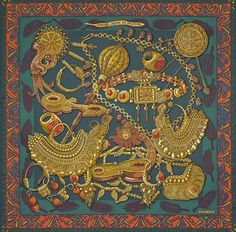 "Zenobie - Hermes silk twill scarf, hand rolled, 36"" x 36"" (100% silk)"